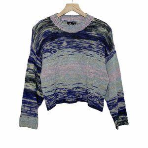 Volcom Cropped Blue Green Striped Crewneck Sweater